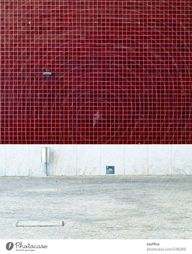 OPXE House (Residential Structure) Wall (barrier) Wall (building) Facade Ashtray Red Tile Colour photo Abstract Pattern Structures and shapes