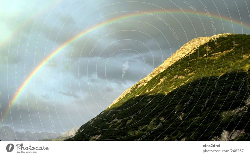 rainbow Relaxation Calm Environment Nature Landscape Plant Elements Sky Clouds Weather Alps Mountain Peak Positive Beautiful Emotions Moody Romance Climate Pure