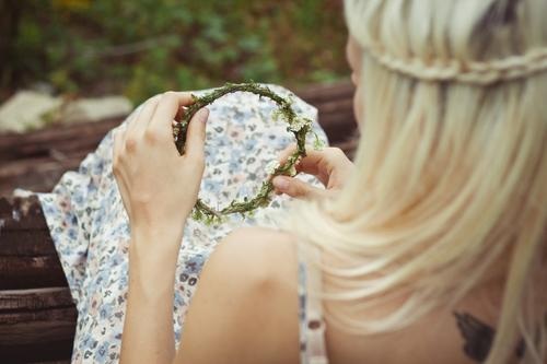 Human being Nature Youth (Young adults) Beautiful Plant Feminine Hair and hairstyles Blossom Blonde To hold on Dress Touch Blossoming Long-haired Young woman
