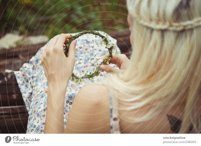 wreath Feminine Young woman Youth (Young adults) 1 Human being Nature Plant Blossom Dress Hair and hairstyles Blonde Long-haired Braids Utilize Touch Blossoming