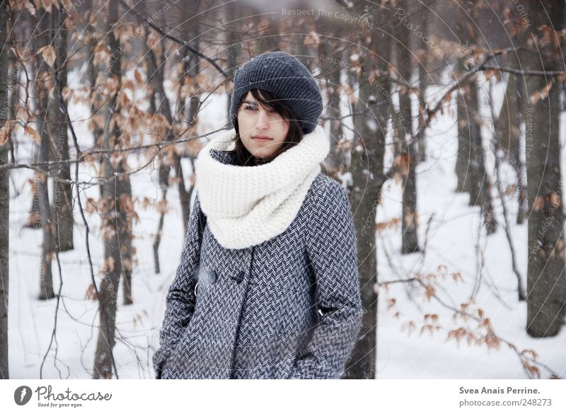 soon. Feminine Young woman Youth (Young adults) 1 Human being 18 - 30 years Adults Winter Bad weather Tree Forest Fashion Coat Winter coat Scarf Cap Stand Cold