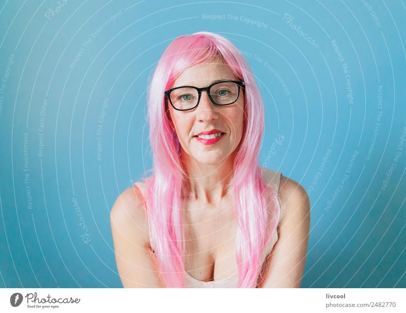lady lady pink Woman Human being Blue Eroticism Calm Joy Adults Lifestyle Funny Feminine Happy Art Fashion Head Think