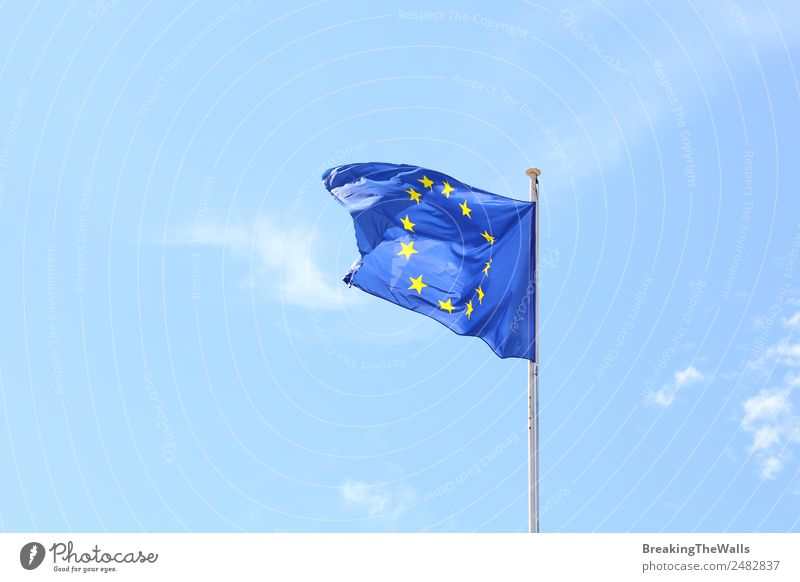 European Union flag in the wind Sky Clouds Sunlight Beautiful weather Flag Blue European flag EU Banner Wind Wave Star (Symbol) Politics and state Movement