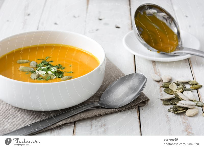 Pumpkin soup in white bowl Food Healthy Eating Food photograph Dish Vegetable Soup Stew Nutrition Organic produce Vegetarian diet Health care Thanksgiving Fresh
