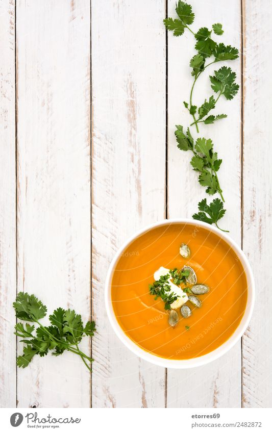 Pumpkin soup Vegetable Soup Stew Nutrition Lunch Bowl Thanksgiving Hallowe'en Fresh Healthy Good Green Orange White Creamy Food Autumn Vegetarian diet
