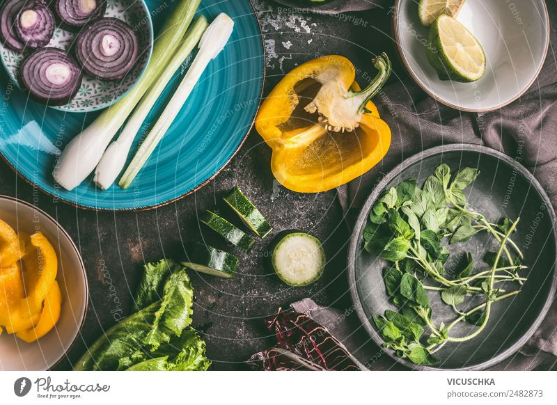 Vegetarian cooking Food Vegetable Lettuce Salad Nutrition Organic produce Vegetarian diet Diet Crockery Plate Bowl Style Design Healthy Healthy Eating Table