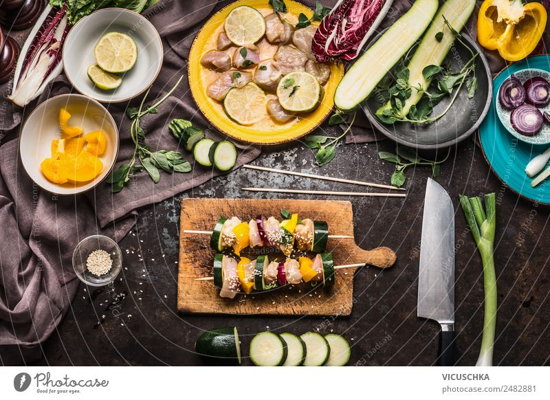 Make your own chicken skewers with vegetables Food Meat Vegetable Nutrition Lunch Dinner Picnic Organic produce Diet Crockery Plate Bowl Knives Style Design