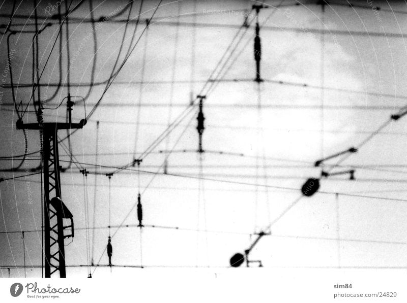 lines Overhead line Transmission lines Electricity Railroad Lamp Industry Electricity pylon Black & white photo