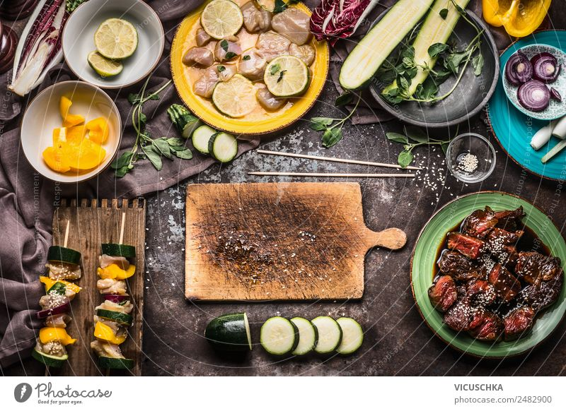 Prepare meat skewers with vegetables for grill Food Meat Vegetable Nutrition Picnic Style Design Healthy Eating Summer Living or residing Table Kitchen