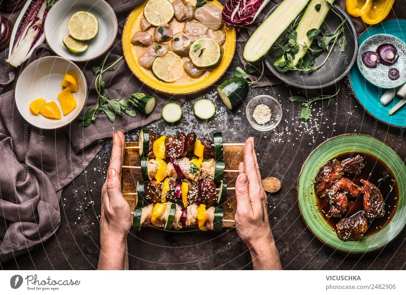 Preparing meat skewers for grilling Food Meat Vegetable Nutrition Lunch Picnic Organic produce Crockery Plate Bowl Style Design Living or residing Table Kitchen