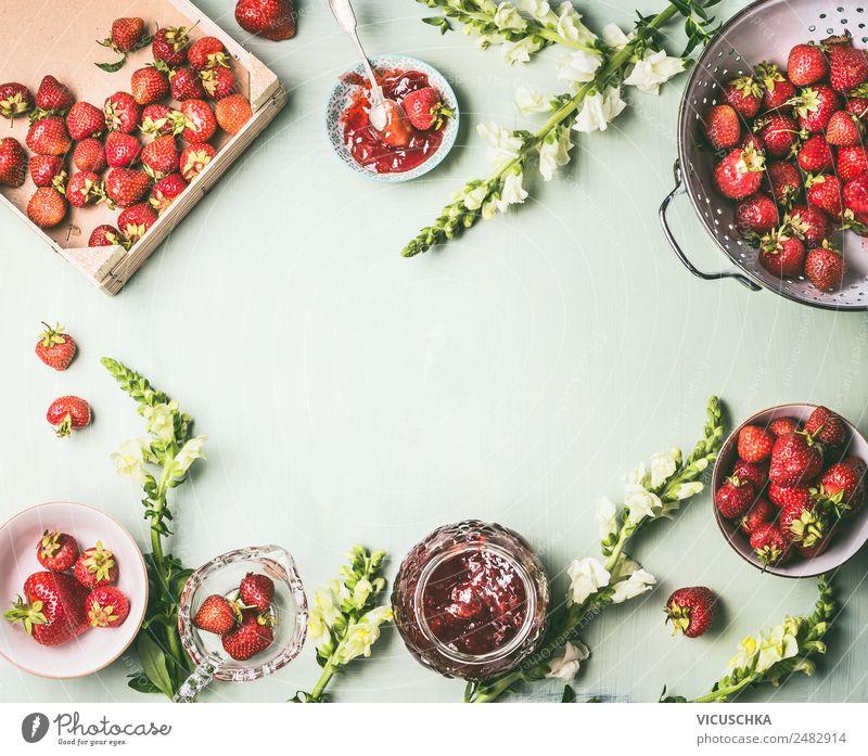 Background with fresh strawberries and jam jars Food Fruit Jam Nutrition Organic produce Vegetarian diet Diet Crockery Bowl Pot Glass Style Design