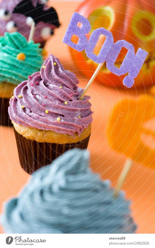 Halloween cupcakes Food Cake Dessert Candy Hallowe'en Fresh Good Sweet Gray Green Violet Orange Colour Cupcake Butter Cream Fear Pumpkin October