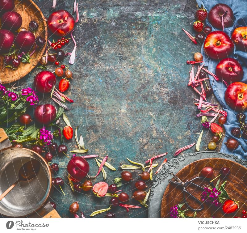 Background with fruit, berries, plate and pot Food Fruit Dessert Jam Nutrition Organic produce Vegetarian diet Crockery Plate Pot Style Design Healthy