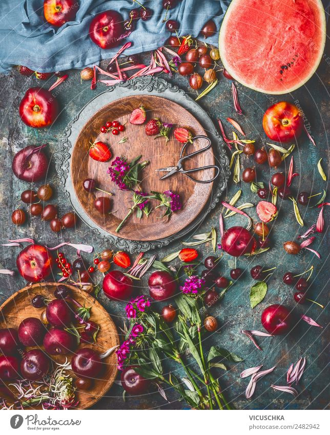 Selection of summer berries and fruit on the kitchen table Food Fruit Dessert Nutrition Organic produce Vegetarian diet Crockery Plate Bowl Style Design Healthy