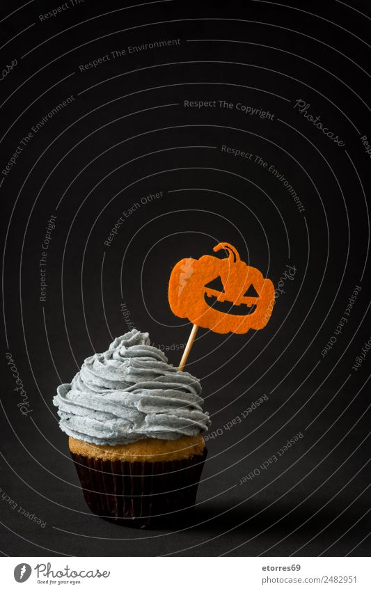Halloween cupcake Cake Dessert Candy Hallowe'en Sweet Gray Orange Black Fear Cupcake Pumpkin Food Creamy Butter Copy Space Seasons Funny Baked goods Home-made