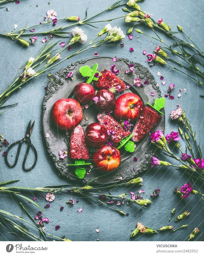 Plate with fruit, ice cream and garden flowers Food Fruit Ice cream Nutrition Style Design Healthy Eating Summer Living or residing Table Flower Still Life