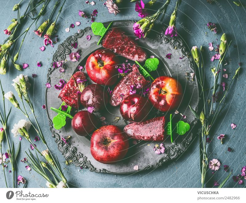 Summer Healthy Eating Flower Red Food photograph Style Living or residing Design Fruit Ice Nutrition Table Ice cream Organic produce Still Life
