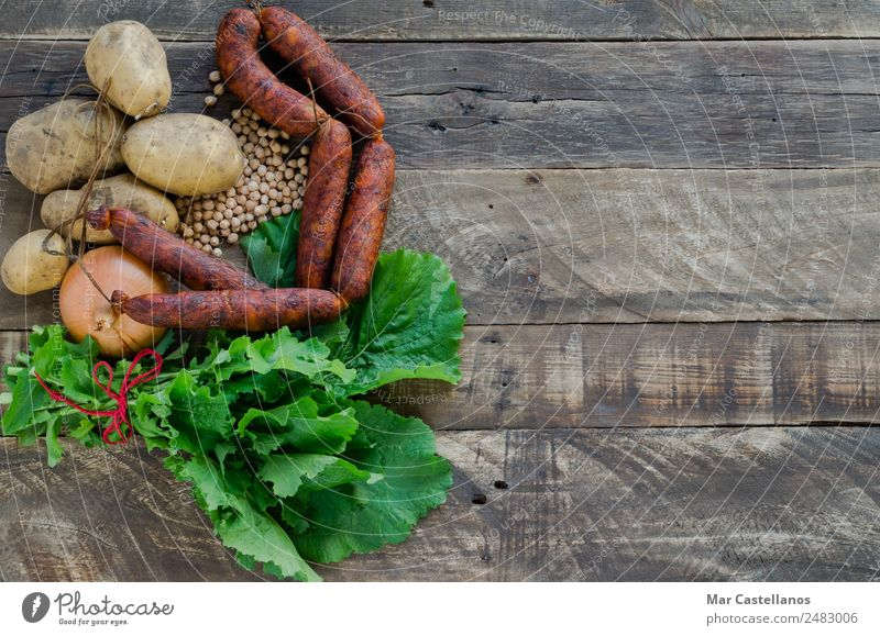 Ingredients for making a meal on wooden background. Top view Nature Old Green Leaf Winter Dark Wood Family & Relations Garden Nutrition Fresh Table Cooking