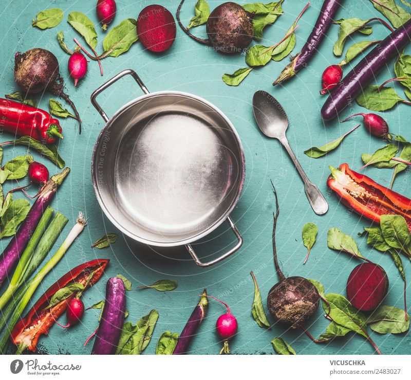 Saucepan and vegetables Food Vegetable Nutrition Organic produce Vegetarian diet Diet Pot Style Design Healthy Healthy Eating Table Kitchen Vegan diet