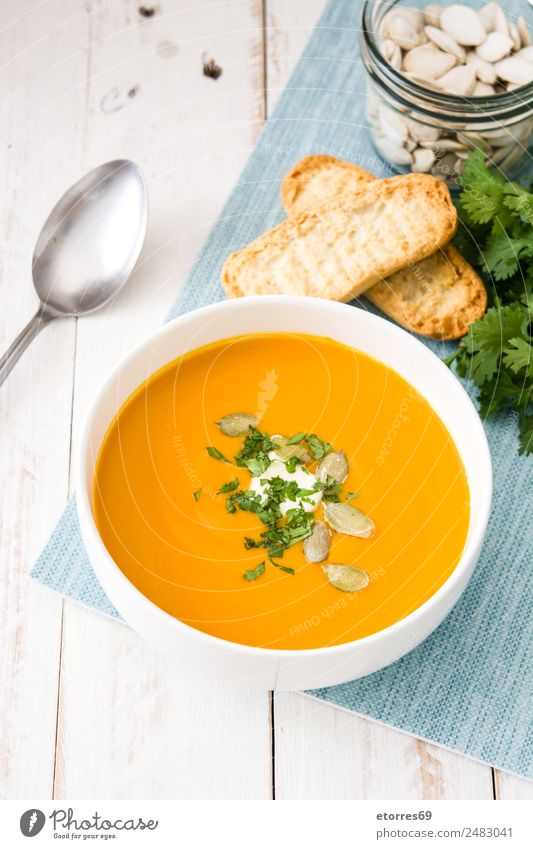 Pumpkin soup Bread Soup Stew Bowl Healthy Good Natural Orange Food Vegetarian diet Vegan diet Seed Thanksgiving Cream Vegetable Dinner Diet Colour photo