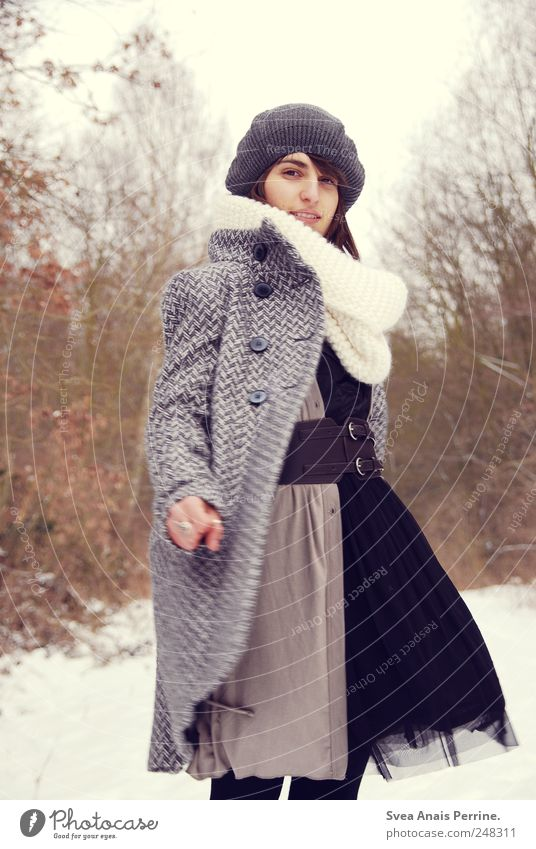 spinning top. Feminine Young woman Youth (Young adults) 1 Human being 18 - 30 years Adults Winter Bad weather Tree Fashion Coat Dress Cap Rotate Thin