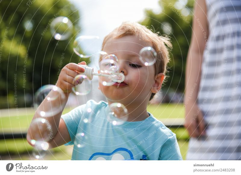 Blown out of the Bubble Joy Toddler Boy (child) 1 - 3 years Playing Happiness Spring fever Energy Emotions To enjoy Happy bubble Soap bubble Colour photo