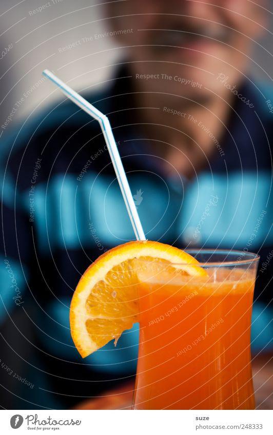 Human being Man Summer Adults Orange Orange Masculine Beverage Sweet Drinking Smiling Shirt Delicious To enjoy Cocktail Expectation
