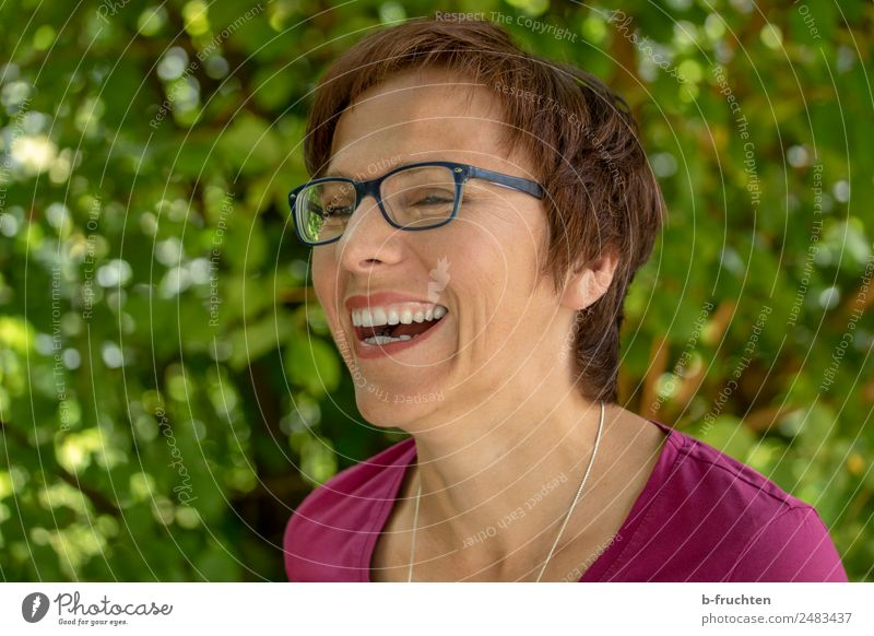 Portrait outside, happy smiling woman Vacation & Travel Woman Adults Face 30 - 45 years Garden Park Eyeglasses Brunette Short-haired Smiling Laughter Brash