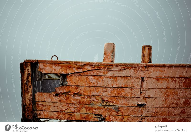 One last ahoy Navigation Fishing boat Harbour Wooden board Plank Hollow Old Historic Broken Trashy Brown Red Death Longing Exhaustion End Apocalyptic sentiment