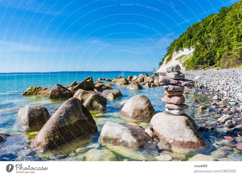 The Baltic Sea coast on the island of Rügen Relaxation Vacation & Travel Tourism Ocean Nature Landscape Clouds Tree Rock Coast Tourist Attraction Stone Blue