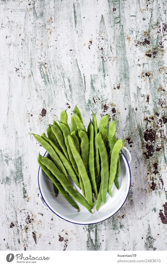 Fresh green beans on a white background Food Vegetable Fruit Nutrition Eating Dinner Vegetarian diet Diet Crockery Plate Nature Wood Natural Red White
