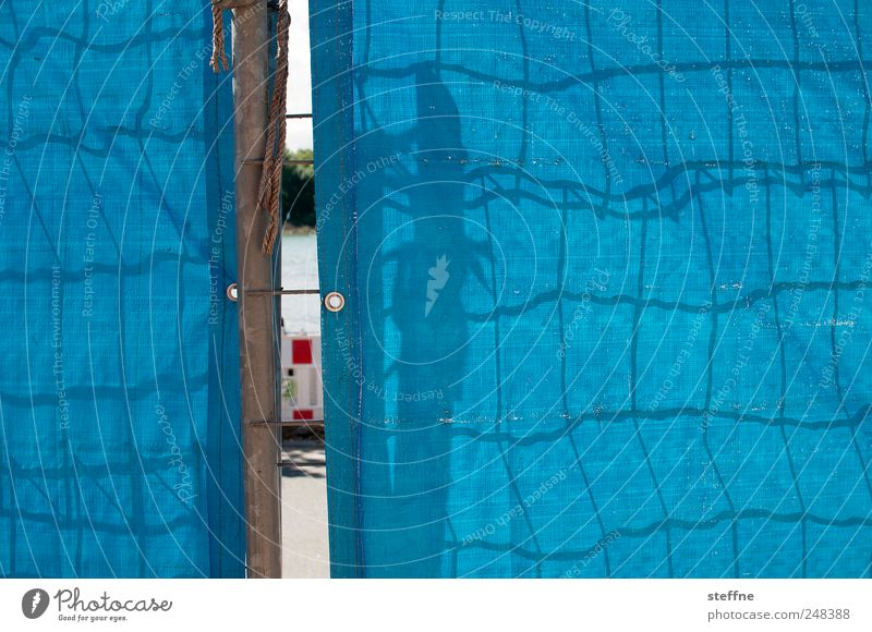 Blue Network Construction site Curiosity Fence Barrier Grating Road traffic Covers (Construction) Shadow play Slit