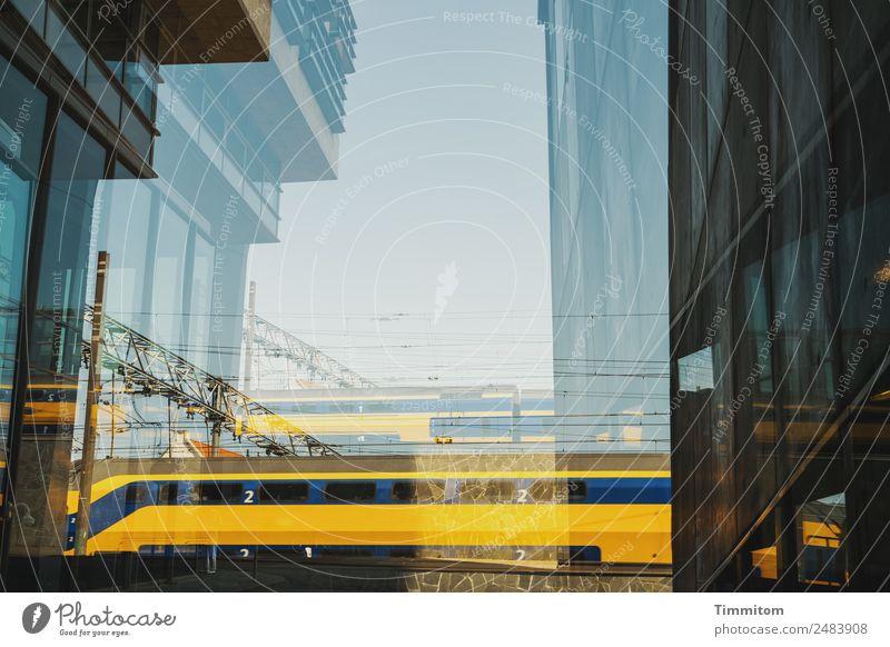 Blue Town Yellow Facade Transport High-rise Double exposure Netherlands Train travel Passenger train