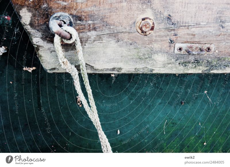 rope end Ship's side Rope Wood Metal Firm Maritime Dye Spar varnish Colour photo Subdued colour Exterior shot Detail Deserted Copy Space left Copy Space right
