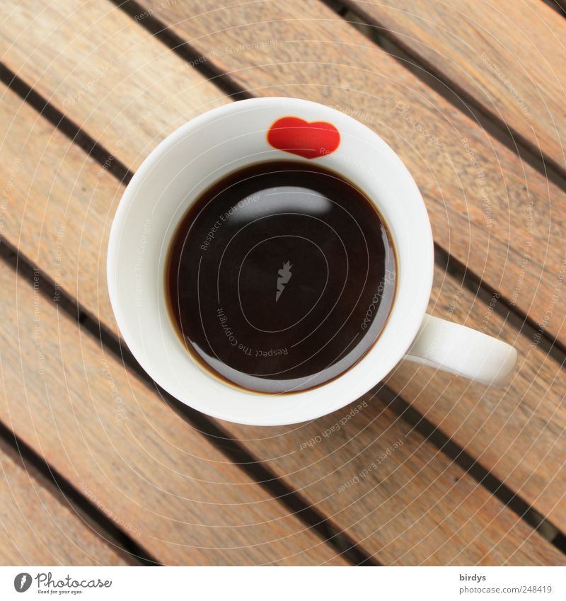 Black coffee with heart To have a coffee Coffee Cup Fragrance Esthetic Friendliness Hot Delicious Positive Round Beautiful Brown Red White Hospitality Calm
