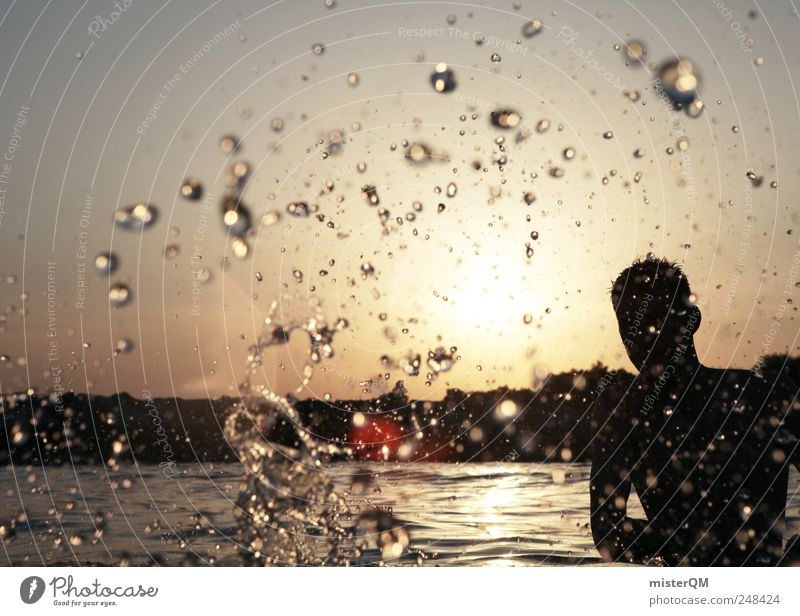 Man Youth (Young adults) Water Summer Freedom Art Wet Modern Drops of water Esthetic Lifestyle Fluid Refreshment Summer vacation Inject Summery