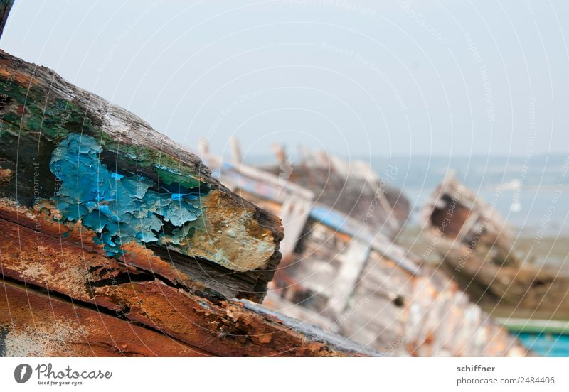 Trash from Brittany Landscape Coast Beach Bay Navigation Old Watercraft Wreck Hull Cemetery Patina Flake off Varnish Colour Spar varnish Boating trip