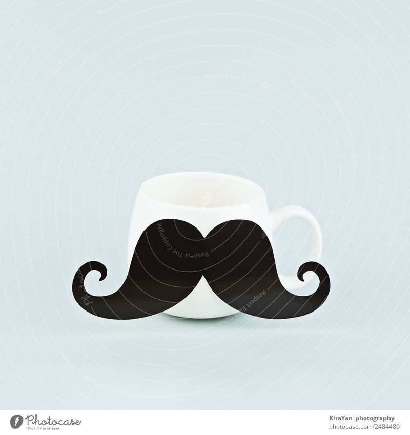 One white coffee mug with large black mustache on blue Man Blue White Lifestyle Adults Family & Relations Happy Style Feasts & Celebrations Copy Space Masculine