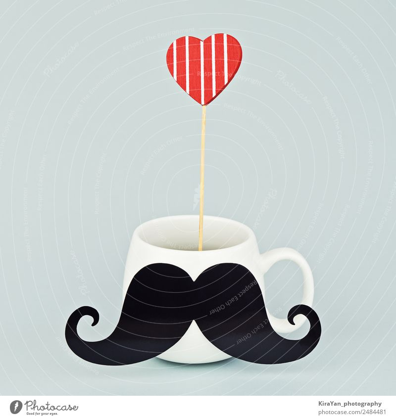 White mug with black mustache and red heart Man Blue Red Adults Lifestyle Love Family & Relations Style Happy Feasts & Celebrations Copy Space Design Masculine