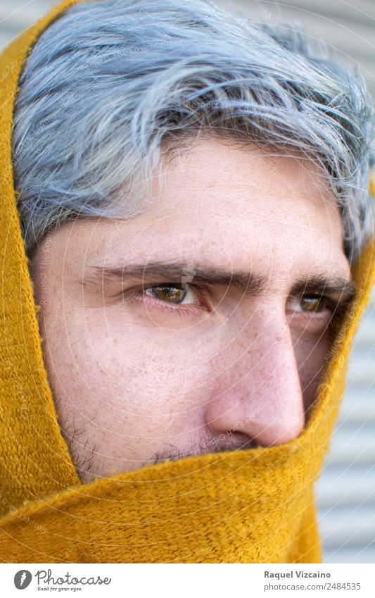 Man with gray hair and yellow turban. Masculine Adults 1 Human being 18 - 30 years Youth (Young adults) Scarf Gray-haired Looking Yellow Mysterious Cold