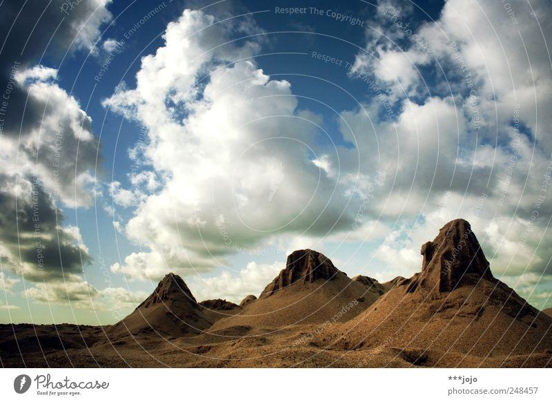 Nature Clouds Far-off places Mountain Landscape Sand Brown Trip Rock Desert Deception Steep Badlands Denmark National Park
