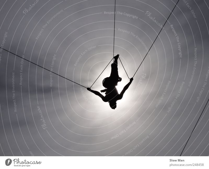 tightrope dancer II Expedition Sports Climbing Mountaineering Woman Adults Circus Stage Flying To swing Tall Willpower Brave Attentive Disciplined Concentrate