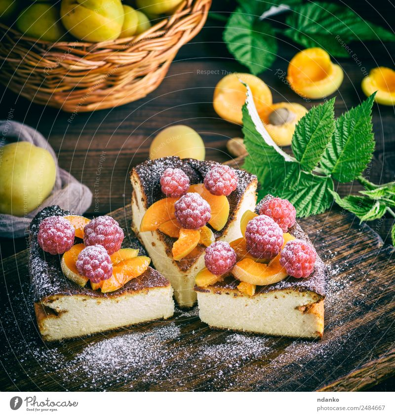 pieces of cottage cheese pie Cheese Fruit Dessert Nutrition Table Fresh Bright Delicious Brown Red White Colour Raspberry Apricot cheesecake Berries food