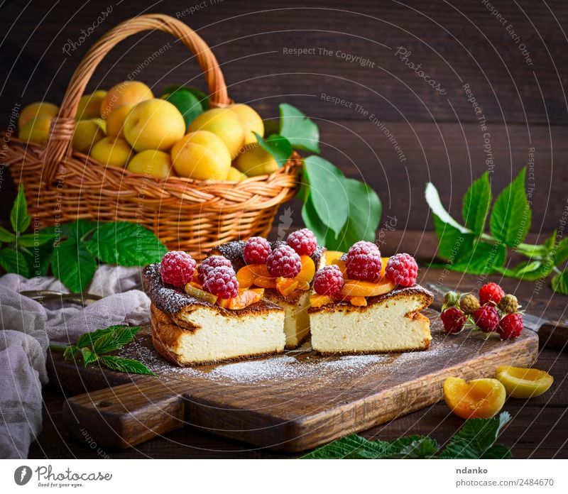 curd pie with raspberries Cheese Fruit Dessert Candy Nutrition Table Fresh Bright Delicious Brown Red White Colour Raspberry Apricot cheesecake Berries food
