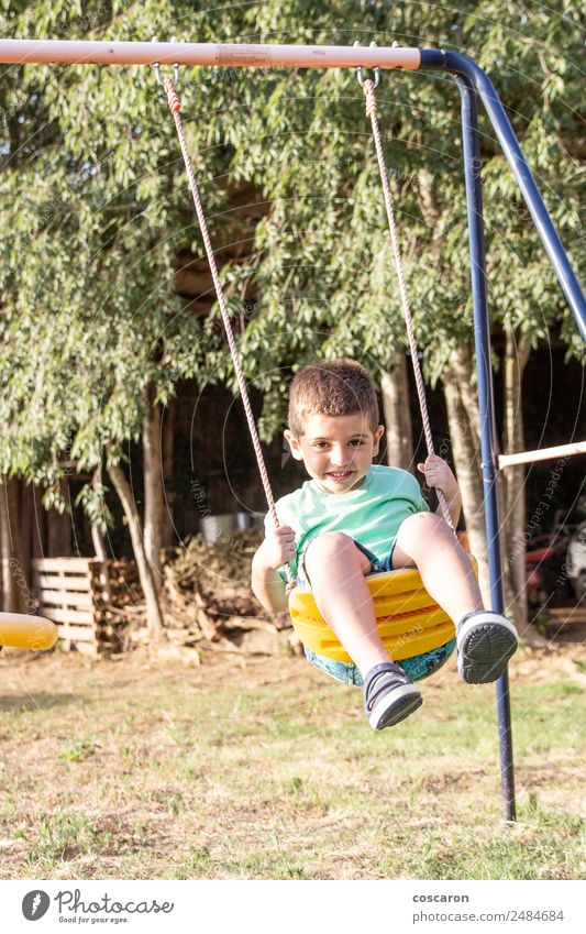 Cute little blond boy swinging on swings Child Human being Man Summer White Relaxation Loneliness Joy Face Adults Lifestyle Sports Movement Happy Boy (child)