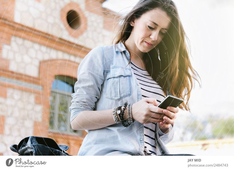 beautiful woman talking on the phone while laughing. Lifestyle Style Joy Beautiful To talk Cellphone PDA Technology Internet Young man Youth (Young adults)