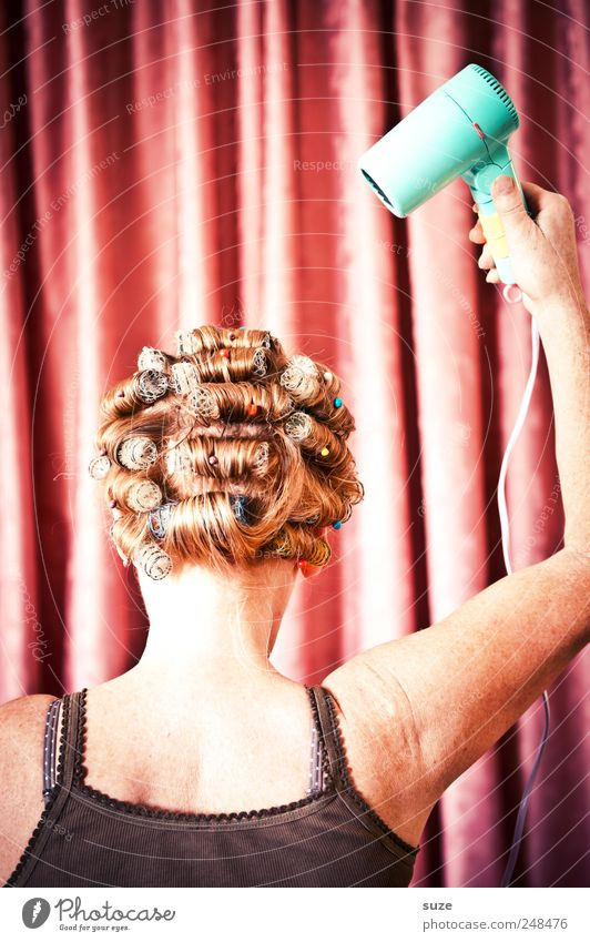 Woman Human being Beautiful Adults Feminine Head Hair and hairstyles Arm Pink Back Stripe Retro Cloth Shows Mask
