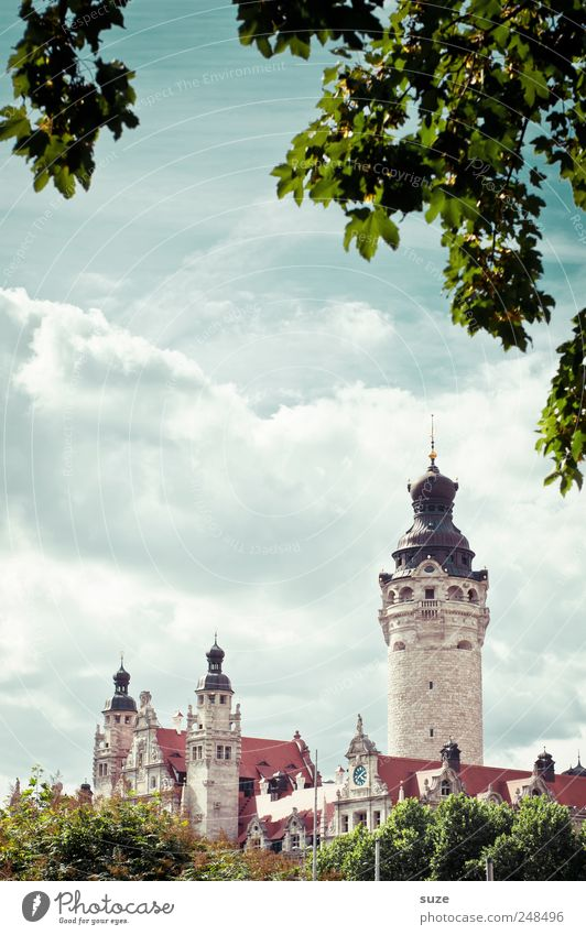 Sky Green Tree Leaf Clouds Environment Architecture Bushes Tower Culture Fantastic Historic Leipzig Landmark Fairy tale Sightseeing