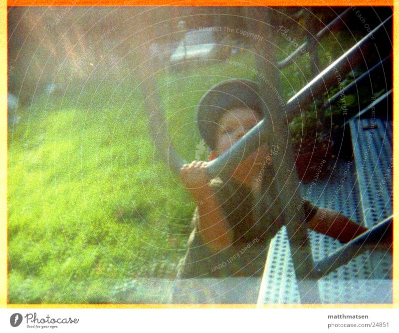 Child Man Green Summer Stairs Modern Cap Overexposure