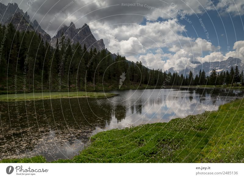 Lago d'Antorno Vacation & Travel Trip Freedom Expedition Summer vacation Mountain Hiking Nature Landscape Plant Clouds Meadow Forest Dolomites Lakeside Pond